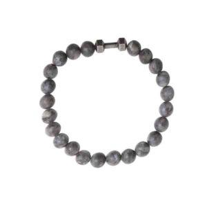Unisex elastische grijze kralenarmband