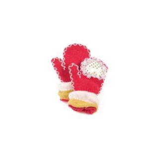 Kinderhandschoenen rood met strikjes en kant