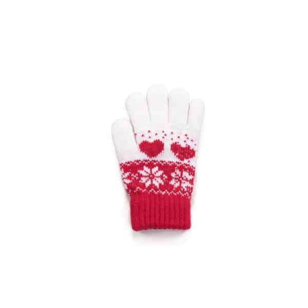kinderhandschoenen rood met wit met hartjes