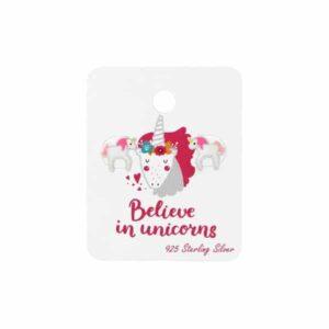 Unicorn zilveren kinderoorbellen met roze