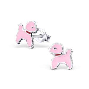 Roze hondje oorstekers kids Sterling Silver