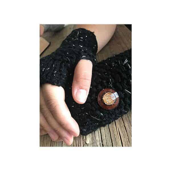 Zwarte gebreide open handschoenen