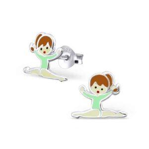 Kinderoorbellen zilver gymnastiek meisje