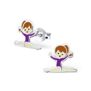 Kinderoorbellen zilver met gymnastiek meisje in paars