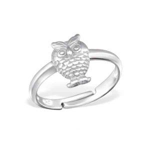 Verstelbare zilveren ring met uil