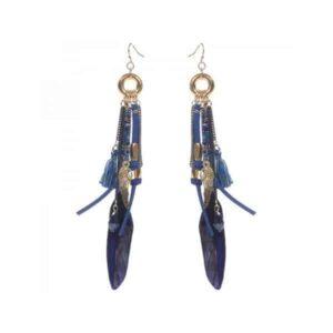 Ibiza style veren oorbellen blauw