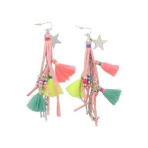 Ibiza Style oorhangers roze met ster