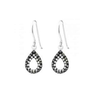 Zilveren oorhangers met traan kristal