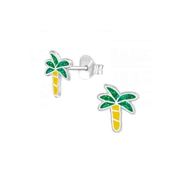 Palmboom oorstekers meisjes 925 sterling silver