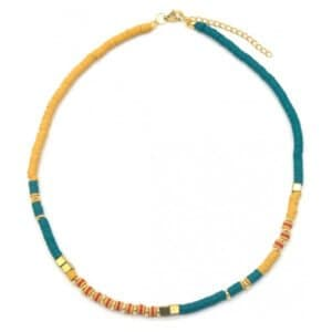 Surf necklace met blauwe en gele rubberen kralen