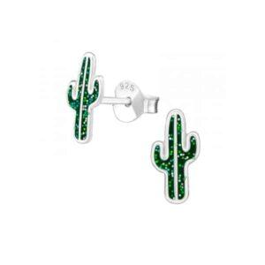 Cactus zilveren kinderoorbellen