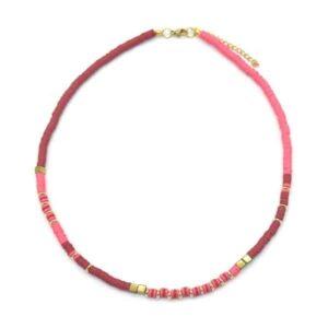 Roze en rode korten kralenketting ibiza style